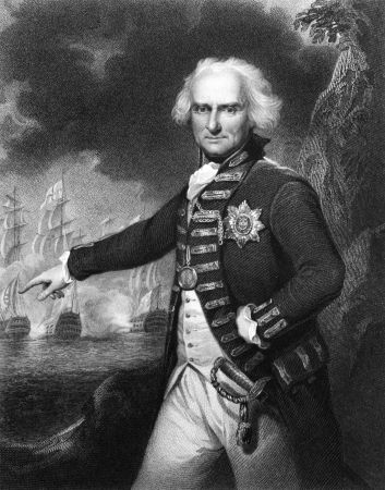 Alexander Hood, 1st Viscount Bridport (1726-1814) on engraving from 1834.  Officer of the British Royal Navy during the French Revolutionary Wars and Napoleonic Wars. Engraved by J.Robinson and published in Portraits of Illustrious Personages of Great B Editorial