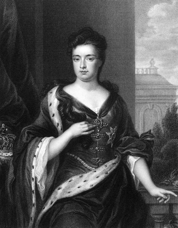 anne: Anne Queen of Great Britain (1665-1714) on engraving from 1830. Queen of Great Britain during 1702-1707. Engraved by J.Cochran and published in Portraits of Illustrious Personages of Great Britain,UK,1830. Editorial