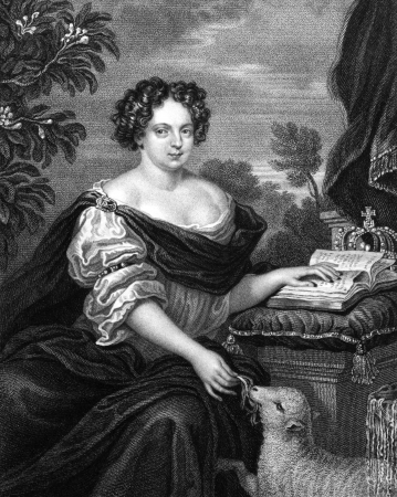 illustrious: Catherine of Braganza (1638-1705) on engraving from 1830. Queen of England, Scotland and Ireland during 1662 -1685 as the wife of King Charles II. Engraved by S.Freeman and published in Portraits of Illustrious Personages of Great Britain,UK,1830.