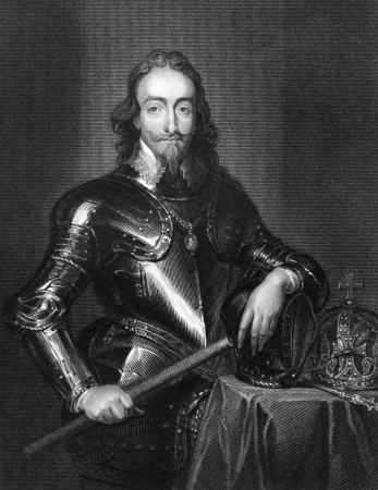 Charles I of England (1600-1649) on engraving from 1831. King of England, Scotland and Ireland from 1625 until his execution. Engraved by H.Robinson and published in Portraits of Illustrious Personages of Great Britain,UK,1831.  Редакционное