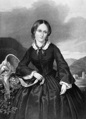 novelist: Charlotte Bronte (1816-1855) on engraving from 1885. English novelist and poet. Engraved by W.G. Jackman and published in Queenly Women Crowned and Uncrowned,USA,1885.