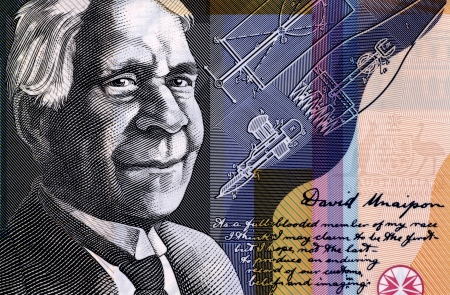 papermoney: David Unaipon (1872-1967) on 50 Dollars 2009 from Australia.Famous Indigenous Australian whose contribution to Australian society helped to break many Indigenous Australian stereotypes. Stock Photo