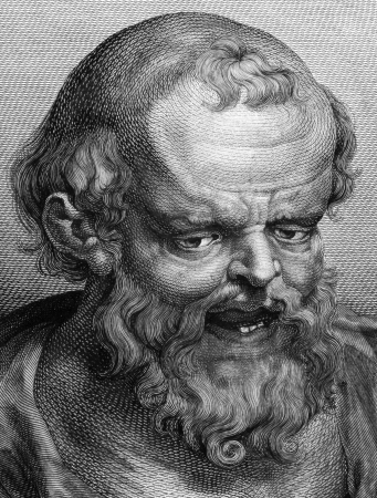 Democritus (460BC-370BC) on engraving from 1788.  Ancient Greek philosopher. The most influental pre-ocratic. His atomic theory may be regarded as the culmination of early Greek thought. He is considered as the father of modern science. Engraved by Blak