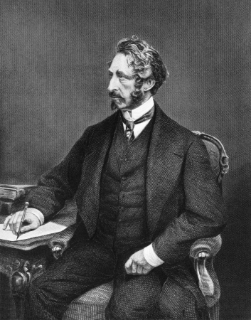 novelist: Edward Bulwer-Lytton, 1st Baron Lytton (1803-1873) on engraving from 1873. English novelist, poet, playwright and politician. Engraved after a painting by A.Chappel and published in The Masterpiece Library of Short Stories,USA,1873.