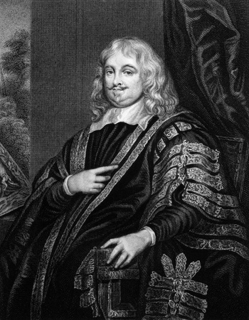 statesman: Edward Hyde, 1st Earl of Clarendon (1609-1674) on engraving from 1829. English statesman, historian, and maternal grandfather of two English monarchs, Queen Mary II and Queen Anne.Engraved by J.Cochran and published in Portraits of Illustrious Personage