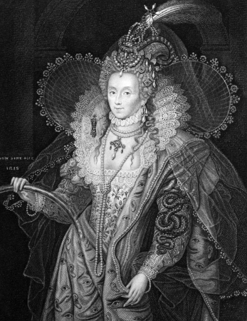 Elizabeth I of England (1533-1603) on engraving from 1829. Queen of England and Queen of Ireland during 1558-1603. Engraved by W.T.Fry and published in Portraits of Illustrious Personages of Great Britain,UK,1829.
