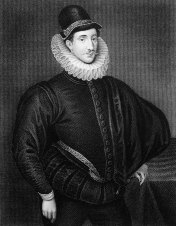 elizabethan: Fulke Greville, 1st Baron Brooke (1554-1628) on engraving from 1830. Elizabethan poet, dramatist, and statesman. Engraved by J.Cochran and published in Portraits of Illustrious Personages of Great Britain,UK,1830.