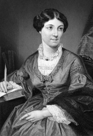 whig: Harriet Martineau (1802-1876) on engraving from 1873. English social theorist and Whig writer. Engraved after a painting by A.Chappel and published in The Masterpiece Library of Short Stories,USA,1873.
