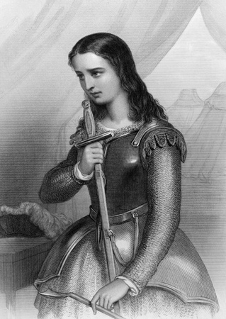 Joan of Arc (1412-1431) on engraving from 1858. Folk heroine of France and a Roman Catholic saint. Engraved by W.H.Mote and published in World Noted Women,USA,1858.