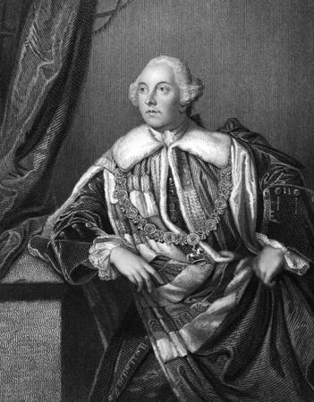 statesman: John Russell, quarto duca di Bedford (1710-1771) su incisione dal 1832. Statista britannico. Incisione di H.Robinson e pubblicato in Ritratti'' di personaggi illustri della Gran Bretagna'', Regno Unito, 1832.