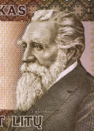 unc: Jonas Basanaviciuson (1851-1927) on 50 Litu 2003 Banknote from Lithuania.  Activist and proponent of Lithuanias National Revival.