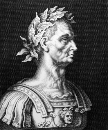statesman: Julius Caesar (100BC-44BC) on engraving from 1860.  Roman general, statesman, Consul and notable author of Latin prose. Engraved by unknown and published by Bibliographic Institute Hildburghausen,Germany,1860.