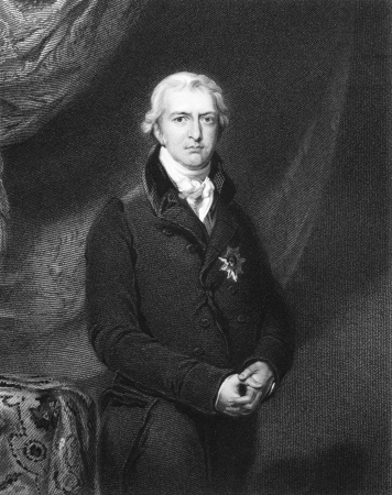 illustrious: Robert Jenkinson, 2nd Earl of Liverpool (1770-1828) on engraving from 1834. British politician and prime minister during 1812-1827. Engraved by H.Robinson and published in Portraits of Illustrious Personages of Great Britain,UK,1834.