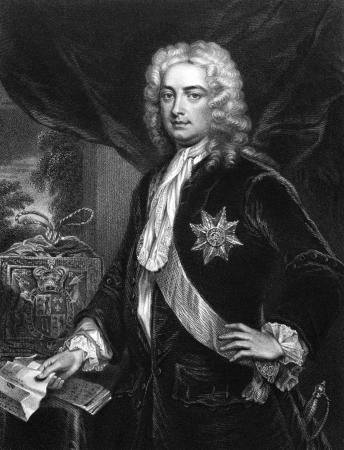 statesman: Robert Walpole, 1st Earl of Orford (1676-1745) on engraving from 1830. British statesman and first Prime Minister of Great Britain. Engraved by H.Robinson and published in Portraits of Illustrious Personages of Great Britain,UK,1830.