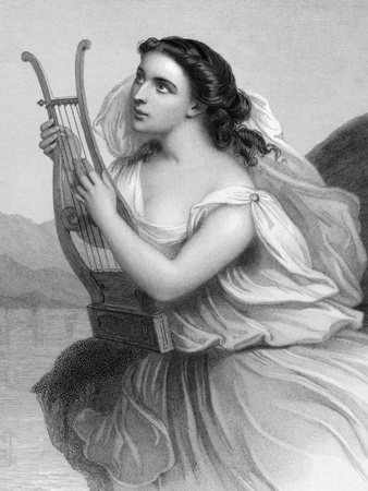Sappho (630/612-570 BC) on engraving from 1858. Ancient Greek lyric poet. Engraved by F.Holl  and published in