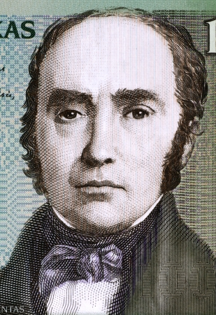 unc: Simonas Daukantas (1793-1864) on 100 Litu 2007 Banknote from Lithuania. Lithuanian writer, ethnographer and historian.