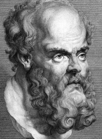 essays: Socrates (469BC-399BC) on engraving from 1788.  Classical Greek Athenian philosopher. Considered one of the founders of Western philosophy. Engraved by T.Trotter after Peter Paul Rubens and published in Essays on Physiognomy,UK,1788.