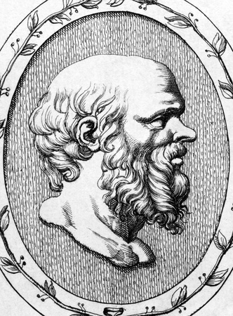founders: Socrates (469BC-399BC) on engraving from 1685.  Classical Greek Athenian philosopher. Considered one of the founders of Western philosophy. Engraved by Leonardo Agostini and published in Gemmae et Sculpturae Antiquae Depictae,Italy,1685.