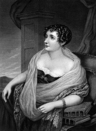 novelist: Sydney, Lady Morgan (1781-1859) on engraving from 1874. Irish novelist. Engraved after a drawing by S.Lover and published in The Masterpiece Library of Short Stories,USA,1874.