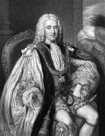 whig: Thomas Pelham-Holles, 1st Duke of Newcastle (1693-1768) on engraving from 1832. British Whig statesman. Prime minister of Great Britain during 1757-1762. Engraved by W.Holl and published in Portraits of Illustrious Personages of Great Britain,UK,1832.
