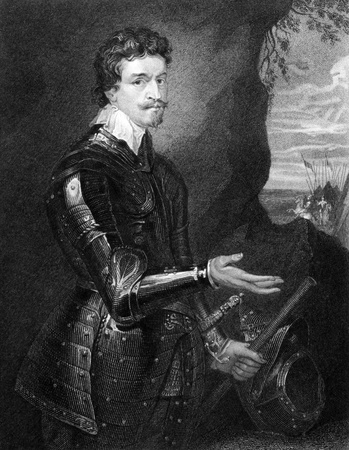 statesman: Thomas Wentworth, 1st Earl of Strafford (1593-1641) on engraving from 1829. English statesman and a major figure in the period leading up to the English Civil War. Engraved by H.Robinson and published in Portraits of Illustrious Personages of Great Brit Editorial