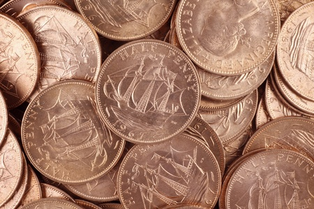 uncirculated: Great Britain uncirculated half pennies from 1967 Stock Photo
