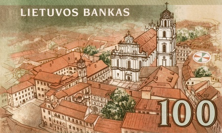 banknote uncirculated: Vilnius old town on 100 Litu 2007 banknote from Lithuania. Stock Photo