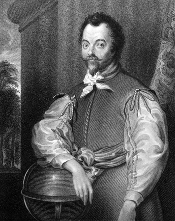 drake: Francis Drake (1540-1596) on engraving from 1829.  English sea captain, privateer, navigator, slaver and politician. Engraved by S.Freeman and published in Portraits of Illustrious Personages of Great Britain,UK,1829.