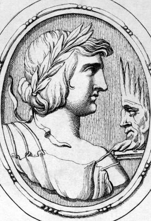 Publius Vergilius Maro (70BC-19BC) on engraving from 1685. Ancient Roman poet. Engraved by Leonardo Agostini and published in Gemmae et Sculpturae Antiquae Depictae,Italy,1685.