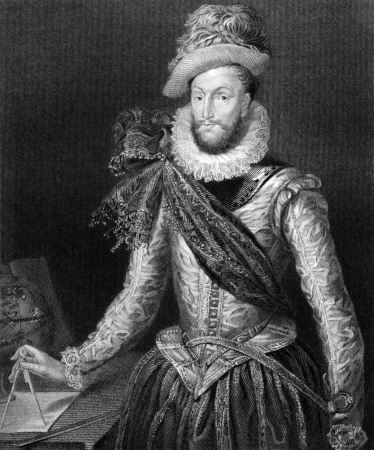 aristocrat: Walter Raleigh (1552-1618) on engraving from 1829. English aristocrat, writer, poet, soldier, courtier and explorer. Engraved by H.Robinson and published in Portraits of Illustrious Personages of Great Britain,UK,1829.