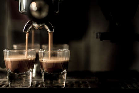 maquina de vapor: Café expreso  Foto de archivo