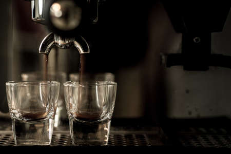 espresso machine: Espresso machine brewing a coffee