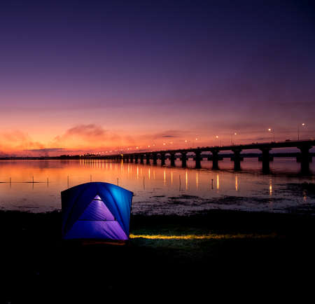 outdoor photo: Holiday camping.Night Hours Campsite. Recreation and Outdoor Photo Collection.