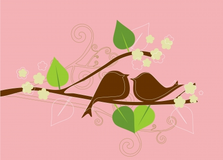 Two birds in love  Vintage vector background Romantic wallpaper