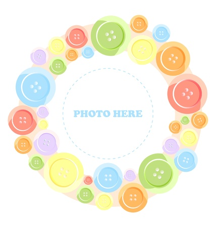 olorful buttons frame, isolated on white Very cute photo frame Vector