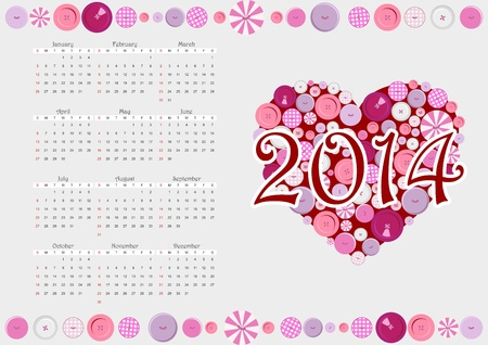 2014 calendar with heart from buttons,vector Vector