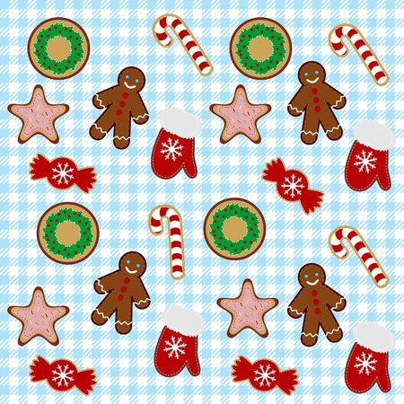 Christmas cookies endless pattern Vector