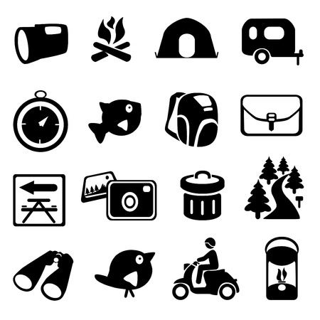 flashlight: Camping Icons Illustration
