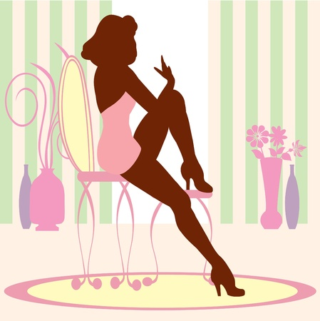 Chic Woman sitting Illustration