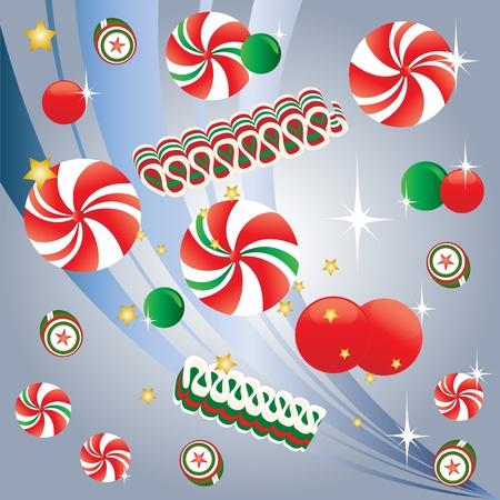 caramelos navidad: Caramelo de la Navidad con la hierbabuena Vectores