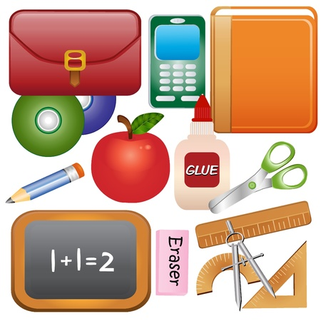 glue: School Supplies Icons Illustration