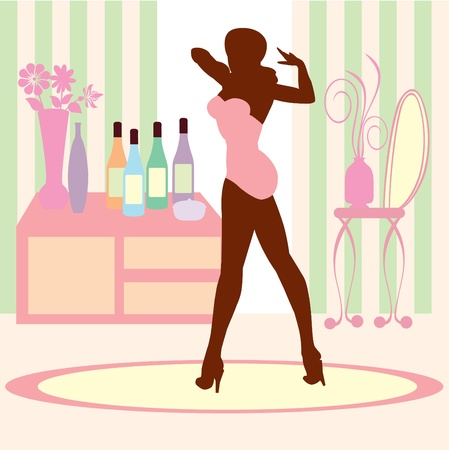 Woman in Vanity room with wine Illustration