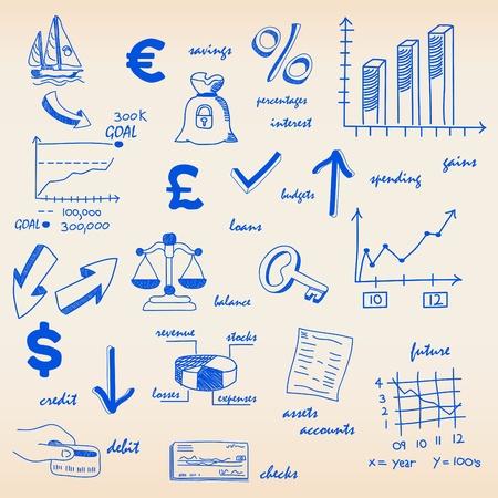 Financiar el presupuesto con los iconos de acciones Foto de archivo - 11830580