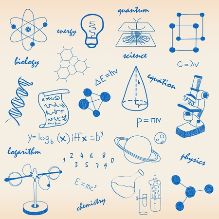 Science icons and equations