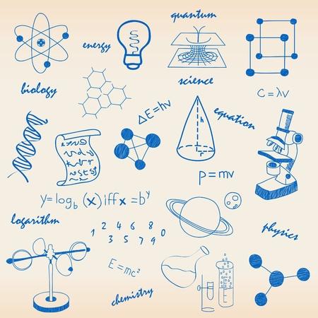 study icon: Los iconos de la ciencia y de las ecuaciones