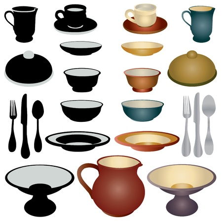 wedding reception decoration: Dinnerware set icons Illustration