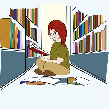 Hand drawn Student Studying in Library Illustration
