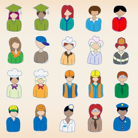 Hand drawn Occupation Icons Set Stock Vector - 11830581