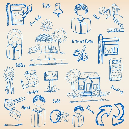 Getrokken Real Estate Icons Set Stock Illustratie
