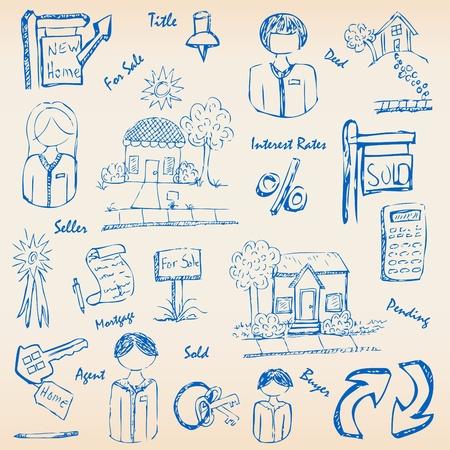 Hand drawn Real Estate Icons Set